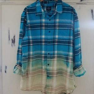 American Eagle Turquoise Bleached Flannel Shirt
